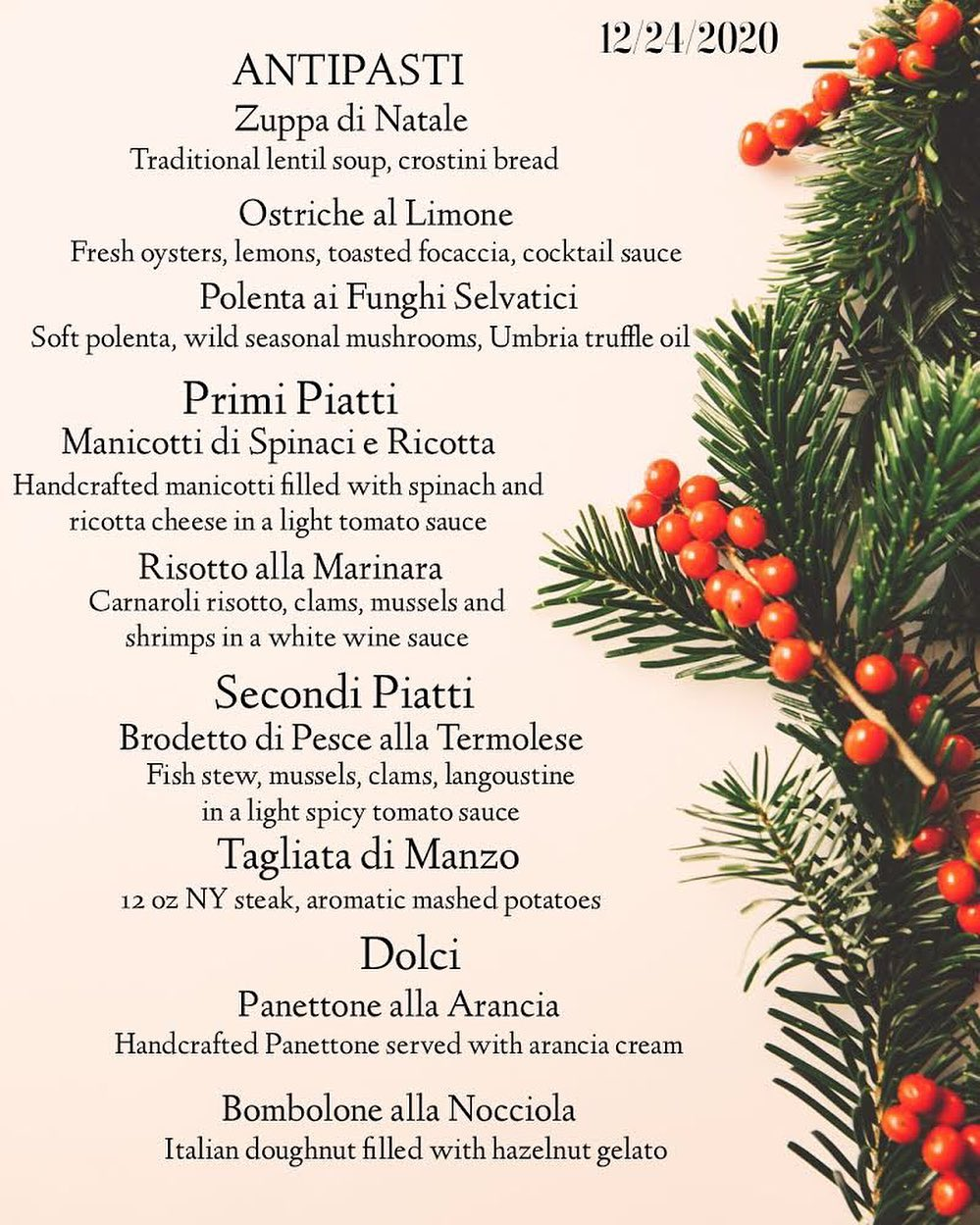 Italian Christmas Holiday Private Party Event